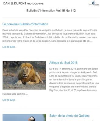 Le nouveau Bulletin d'information